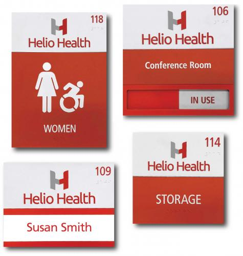 ADA BRAILLE SIGNS FOR HELIO HEALTH WITH COMPANY LOGO AND CUSTOM SLIDER OPTION