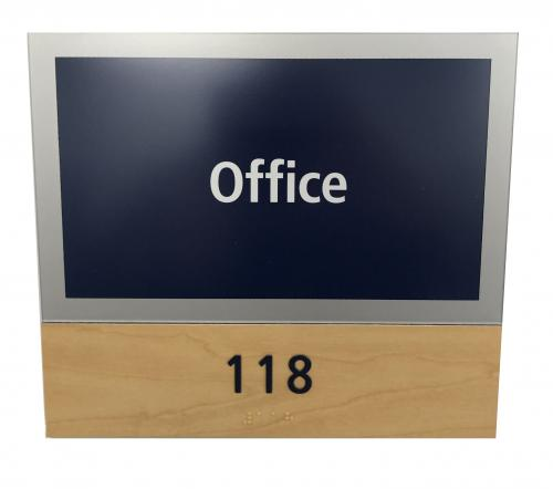 ADA AMBER CHERRY LAMINATE BRAILLE SIGN WITH REPLACEABLE ROOM WINDOW INSERT