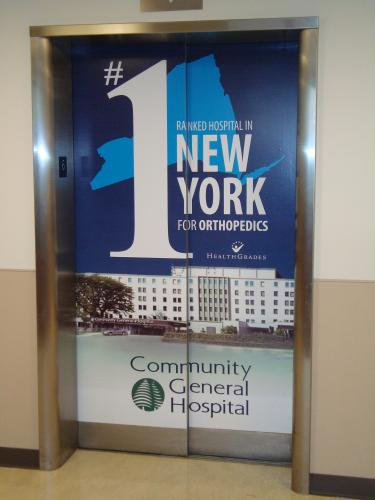 DIGITAL PRINT ON ELEVATOR AT COMMUNITY GENERAL HOSPITAL SYRACUSE