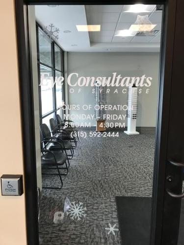 VINYL LETTERS AND LOGO ON GLASS