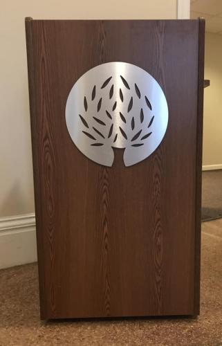 CNY Community Foundation routed podium logo with brushed silver face