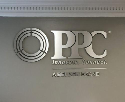 PPC BROADBAND ROUTED DIMENSIONAL LOGO WITH BRUSHED SILVER FACE