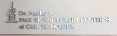 CROUSE HOSPITAL BREAST HEALTH CENTER SYRACUSE ROUTED DIMENSIONAL LOGO WITH BRUSHED SILVER FACE