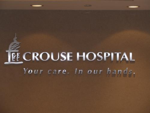 CROUSE HOSPITAL SYRACUSE ROUTED DIMENSIONAL LOGO WITH BRUSHED SILVER FACE