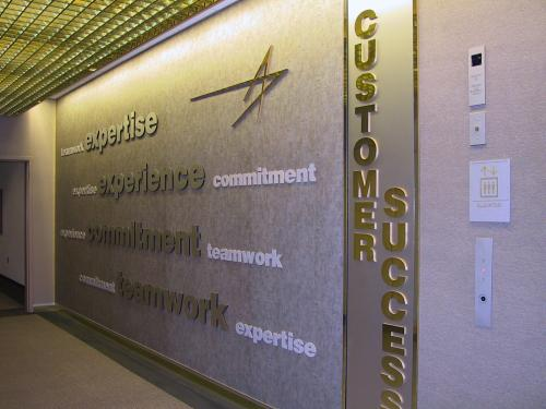 LOCKHEED MARTIN CUSTOMER SUCCESS WALL ROUTED DIMENSIONAL LETTERS AND LOGO