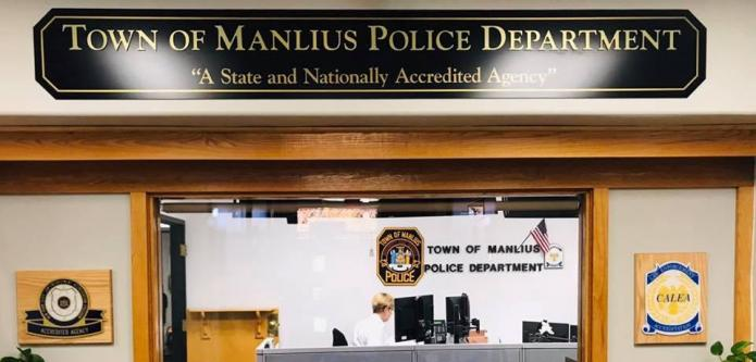TOWN OF MANLIUS POLICE PAINTED DIMENSIONAL LETTERS ON A PANEL