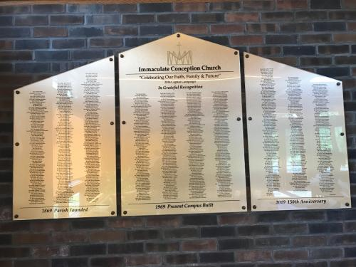 IMMACULATE CONCEPTION CHURCH RECOGNITION WALL