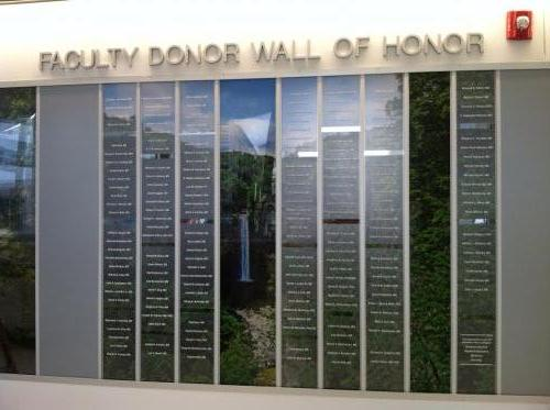 FACULTY DONOR WALL OF HONOR