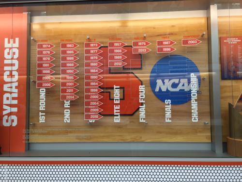 SYRACUSE UNIVERSITY MEN'S BASKETBALL NCAA TOURNAMENT DISPLAY