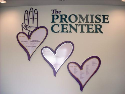 THE PROMISE CENTER HEARTS DONOR WALL
