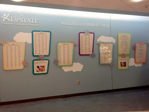 UPSTATE GOLISANO CHILDREN'S HOSPITAL SYRACUSE DONOR WALL PLAQUES