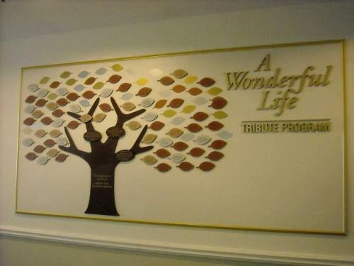 TREE DONOR WALL WITH INDIVIDUAL DONOR LEAVES AND DIMENSIONAL LETTERS