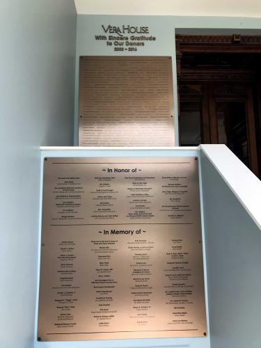 VERA HOUSE DONOR PLAQUES