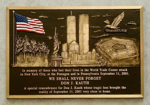 SEPTEMBER 11TH IN MEMORY OF CAST PLAQUE