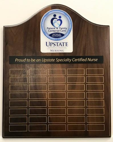 UPSTATE UNIVERSITY HOSPITAL SYRACUSE CERTIFIED NURSE PLAQUE