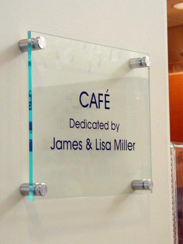 GLASS DEDICATION PLAQUE WITH STANDOFFS