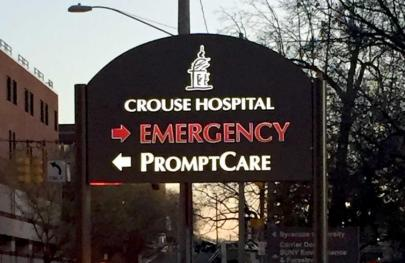 CROUSE HOSPITAL SYRACUSE ILLUMINATED POST & PANEL