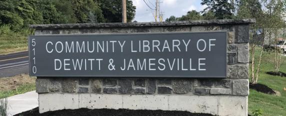 JAMESVILLE DEWITT COMMUNITY LIBRARY MONUMENT SIGN