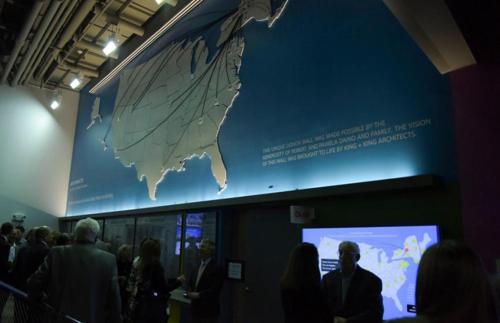 3D MAP OF THE UNITED STATES WITH PUBLIC MEDIA LOCATORS AND DONOR WALL FOR WCNY SYRACUSE