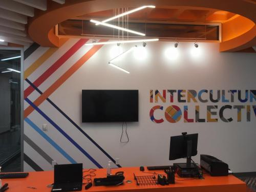 SYRACUSE UNIVERSITY SCHINE STUDENT CENTER TEXTURED PRINTED WALL VINYL, AND ACRYLIC PATTERN DIMENSIONAL LETTERS